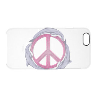 Dolphin Peace Pink Clear iPhone 6/6S Case