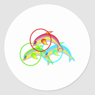Dolphin Rings Round Stickers