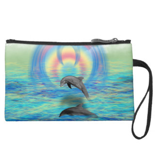Dolphin Rising Suede Wristlet