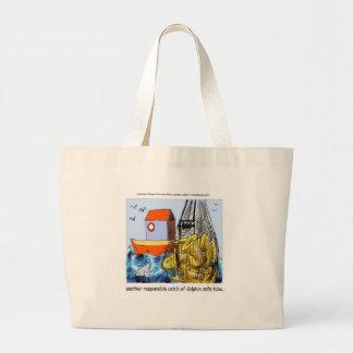 Dolphin-Safe Tuba Funny Large Tote Bag