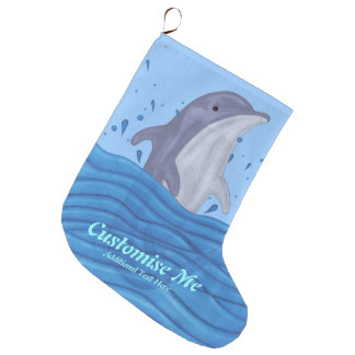 Dolphin Splash Large Christmas Stocking