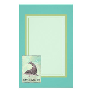 Dolphin Splashing Around Says Have A Great Day Personalized Stationery
