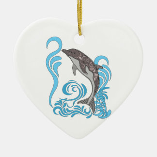 Dolphin Splashing Ceramic Heart Decoration