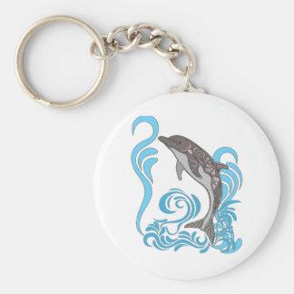 Dolphin Splashing Key Ring