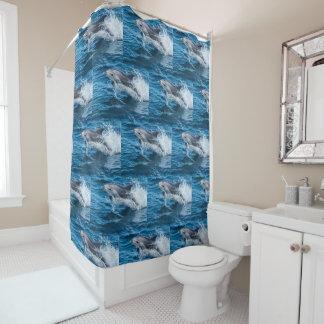 Dolphin Splashing Shower Curtain
