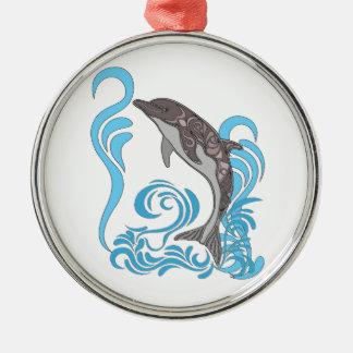 Dolphin Splashing Silver-Colored Round Decoration