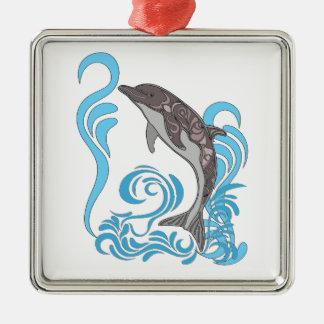 Dolphin Splashing Silver-Colored Square Decoration