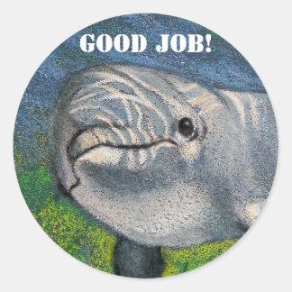 DOLPHIN STICKERS: GOOD JOB! ROUND STICKER