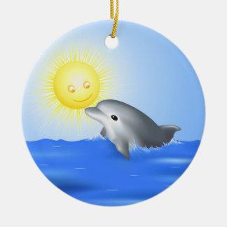 Dolphin & Sun Ceramic Ornament