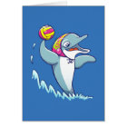 Dolphin throwing the ball while playing water polo card