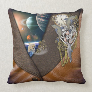Dolphin time on leather throw pillow