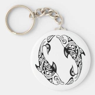 Dolphin Tribal Tattoo Key Ring