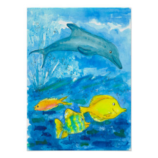Dolphin Tropical Fish Watercolor Painting Poster