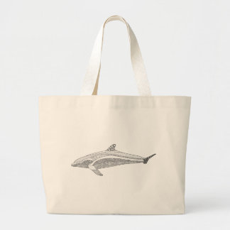 Dolphin Two Line Art Design Large Tote Bag
