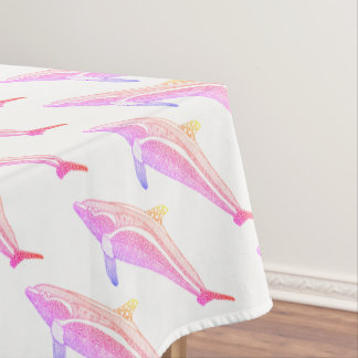Dolphin Two Line Art Design Tablecloth