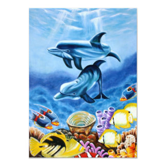 """Dolphins and Tropical Fish Art 4.5"""" X 6.25"""" Invitation Card"""