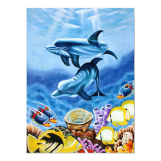 """Dolphins and Tropical Fish Art 6.5"""" X 8.75"""" Invitation Card"""