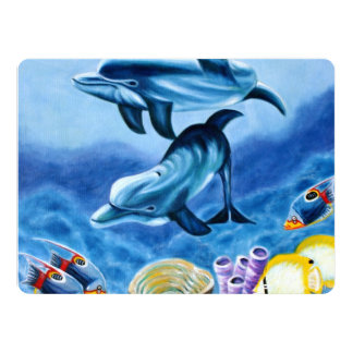 Dolphins and Tropical Fish Art 17 Cm X 22 Cm Invitation Card