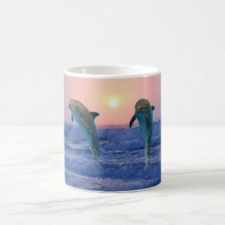 Dolphins at sunrise basic white mug