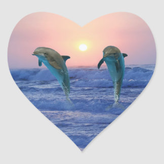 Dolphins at sunrise sticker
