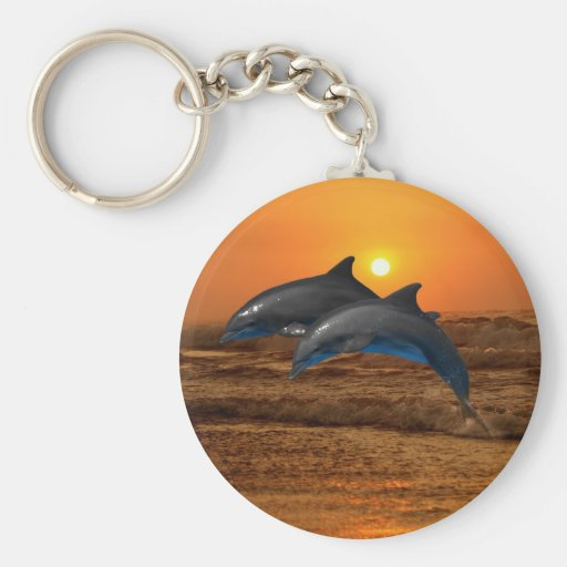 Dolphins at sunset key chains