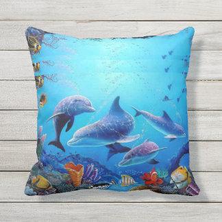 Dolphins blue sea cushion