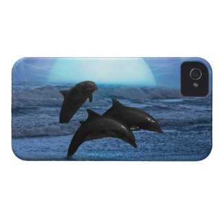 Dolphins by moonlight iPhone 4 cover