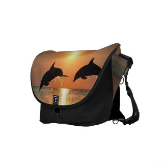 Dolphins by Sunset Courier Bags