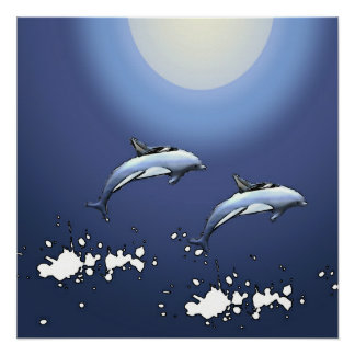 Dolphins dance poster in blue