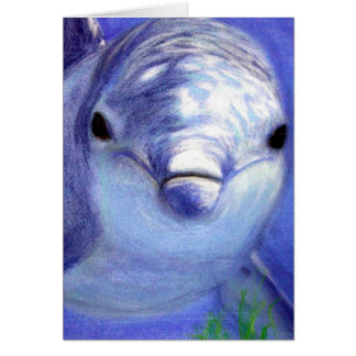 Dolphins Drawing Blue Dolphin Underwater Picture Card