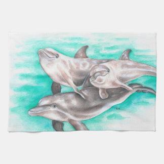 Dolphins Family Teal Tea Towel