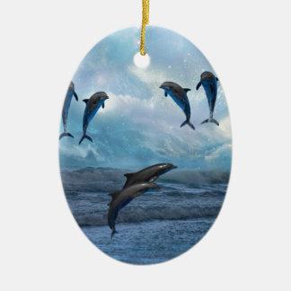 Dolphins fantasy ceramic ornament