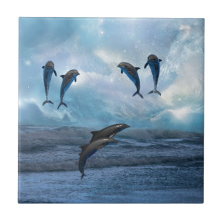Dolphins fantasy small square tile