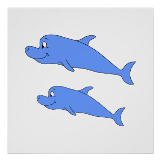 Dolphins in blue. print