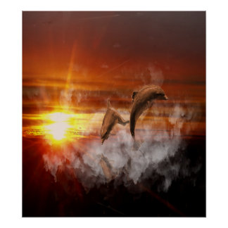 Dolphins In Clouds at Sunset Collage Posters