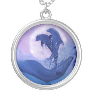 Dolphins in the moonlight silver plated necklace