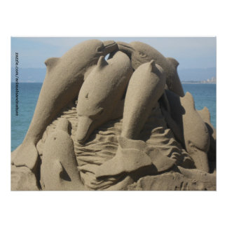 Dolphins In The Sand Poster
