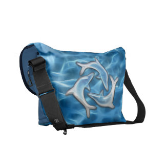 Dolphins in Water Courier Bags