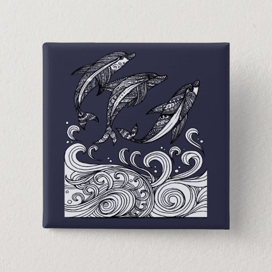 Dolphins Jumping 15 Cm Square Badge