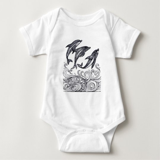 Dolphins Jumping Baby Bodysuit