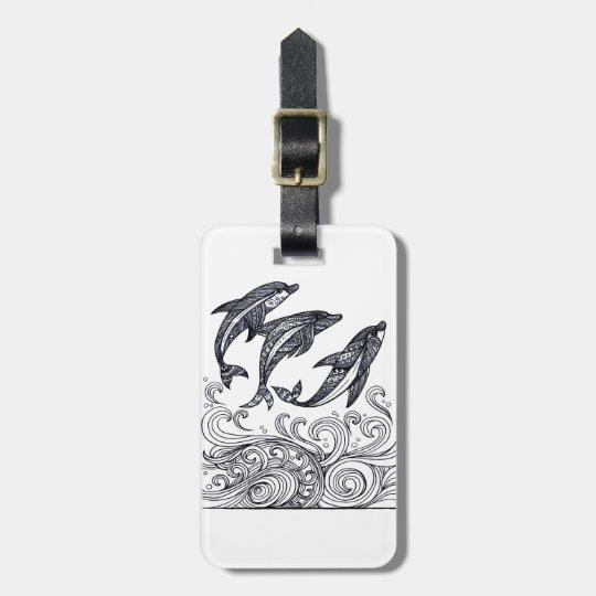 Dolphins Jumping Bag Tag