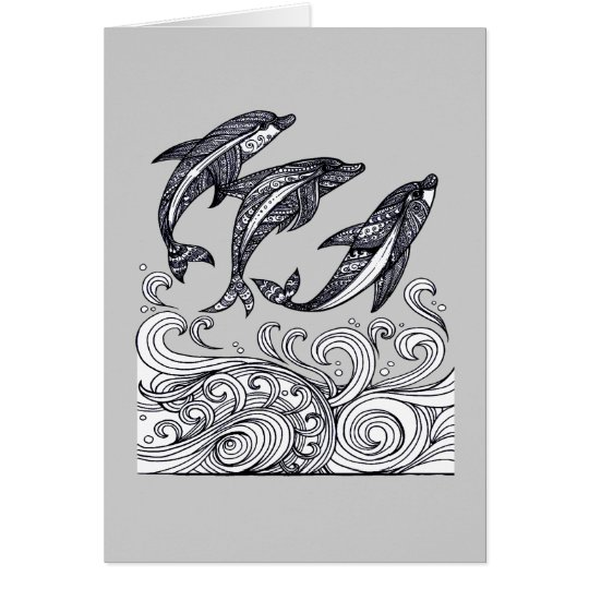 Dolphins Jumping Card