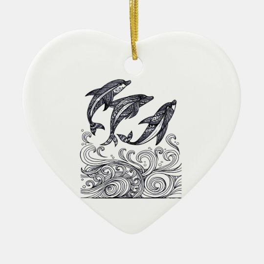 Dolphins Jumping Ceramic Heart Decoration