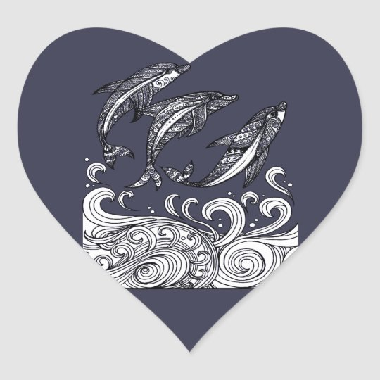 Dolphins Jumping Heart Sticker