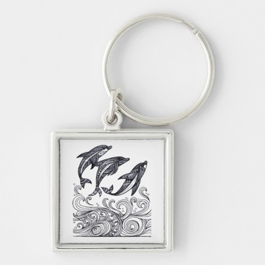 Dolphins Jumping Key Ring