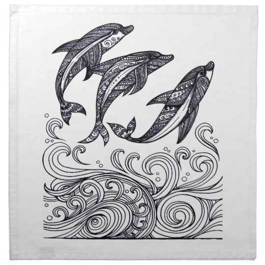 Dolphins Jumping Napkin