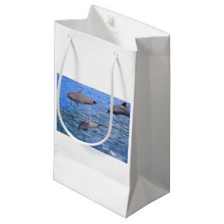 Dolphins jumping out of water small gift bag