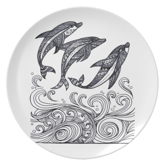 Dolphins Jumping Plate