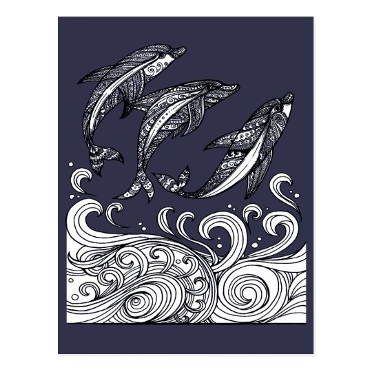 Dolphins Jumping Postcard