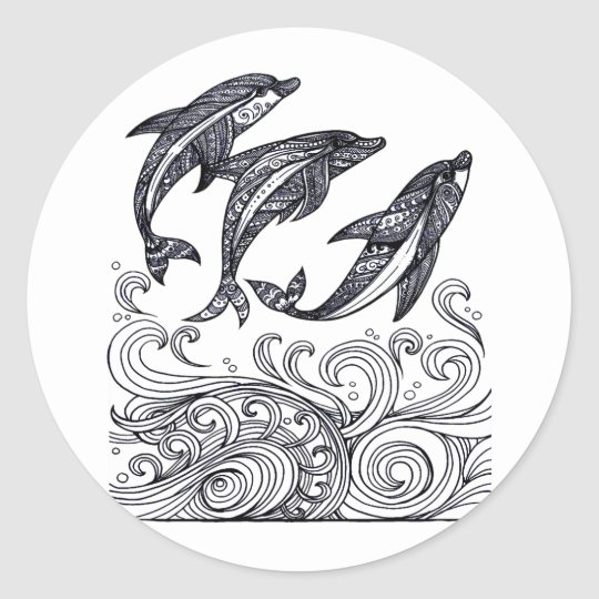 Dolphins Jumping Round Sticker